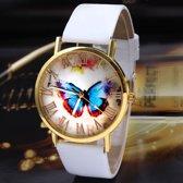 Wit polshorloge met vlinder
