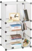 relaxdays vakkenkast 8 vakken - kliksysteem - vlakke kast - kunststof - uitbreidbaar doorzichtig