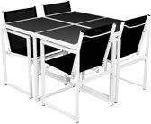 vidaXL 5-delige Tuinset aluminium zwart