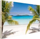 Tropische palmen op het strand Hout 80x60 cm - Foto print op Hout (Wanddecoratie) / Zee en Strand
