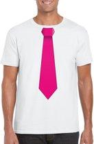 Wit t-shirt met roze stropdas heren M
