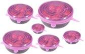 Siliconen deksels set van 6 - Herbruikbaar folie voor vershouden van voedsel - Roze