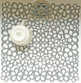 Papillon gootsteenmat Set/2 stuks bloem grijs 31,5 x 31,5 cm