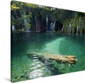 Groene natuur van het Nationaal park Plitvicemeren Canvas 80x60 cm - Foto print op Canvas schilderij (Wanddecoratie woonkamer / slaapkamer)