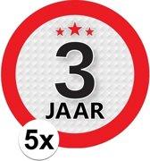 5x 3 Jaar leeftijd stickers rond 9 cm - 3 jaar verjaardag/jubileum versiering