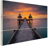 Sunset in Thailand foto afdruk Hout 30x20 cm - klein - Foto print op Hout (Wanddecoratie)