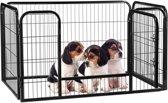 relaxdays puppyren voor binnen en buiten - puppykennel - omheining - konijnenren - zwart