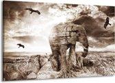 Canvas schilderij Olifant | Grijs, Wit | 140x90cm 1Luik