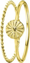 Lucardi - Zilveren ring goldplated 2delig disc/twist