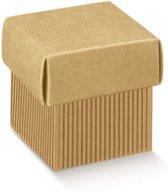 Geschenkdoos vierkant met deksel, geribbeld karton 12x12x12cm NATUREL (20 stuks)