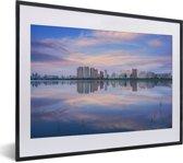 Foto in lijst - Skyline van de Chinese stad Harbin fotolijst zwart met witte passe-partout klein 40x30 cm - Poster in lijst (Wanddecoratie woonkamer / slaapkamer)