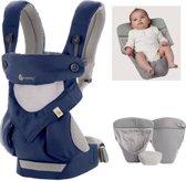 Ergobaby Geboortepakket: Babydraagzak 4P 360 Cool Air French Blue met Ergobaby Verkleinkussen Performance grijs