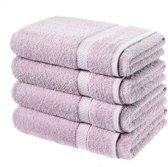 Set van 4 badhanddoeken - paars - handdoek 140 x 80 cm.
