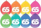 8 Ballonnen - 65 jaar - assorti kleuren