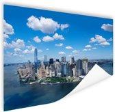 Luchtfoto van Manhattan Skyline Poster 150x75 cm - Foto print op Poster (wanddecoratie woonkamer / slaapkamer) / Steden Poster