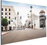Rodeo Drive Los Angeles Aluminium 120x80 cm - Foto print op Aluminium (metaal wanddecoratie)