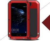 Metalen fullbody hoes voor Huawei P10, Love Mei, metalen extreme protection case, zwart-rood