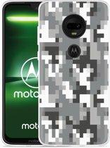 Moto G7 Plus Hoesje Pixel Camouflage Grey