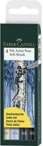 Tekenstift Faber-Castell Pitt Artist Pen Soft Brush etui 4 stuks assorti