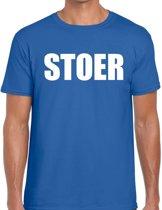 Stoer tekst t-shirt blauw heren M