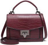 TOUTESTBELLE - Crossbody schoudertasje croco mat flap - Imitatieleer - Crossbody tasje - Dames - Bordeaux