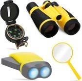 4 in 1 Multifunctionele verkenning set met verrekijker - kompas - loep - led zaklamp