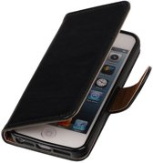 MiniPrijzen - Zwart vintage lederlook bookcase voor de iPhone 5 wallet hoesje flip cover iPhone 5 telefoonhoesje - smartphone hoesje - beschermhoes