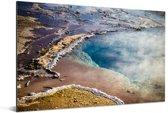 Luchtfoto van het landschap rondom de Geysir in IJsland Aluminium 90x60 cm - Foto print op Aluminium (metaal wanddecoratie)