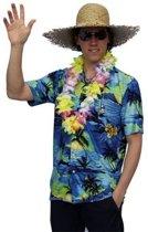 Hawaii shirt blauw met palmbomen 50 (s)