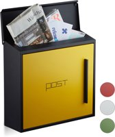 relaxdays brievenbus modern, twee kleurig design, A4-formaat, wandbrievenbus zwart-groen