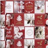 Cadeaupapier, b: 50 cm,  80 gr, goud, rood, kerstmotieven, 3m