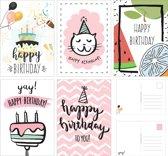 Verjaardagskaarten - Set van 10 x verjaardagskaart