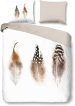 Snoozing Feathers - Flanel - Dekbedovertrek - Tweepersoons - 200x200/220 cm + 2 kussenslopen 60x70 cm - White