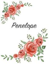Penelope: Personalized Composition Notebook - Vintage Floral Pattern (Red Rose Blooms). College Ruled (Lined) Journal for School