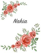 Nakia: Personalized Composition Notebook - Vintage Floral Pattern (Red Rose Blooms). College Ruled (Lined) Journal for School