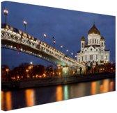 Kathedraal Moskou in de nacht Canvas 60x40 cm - Foto print op Canvas schilderij (Wanddecoratie woonkamer / slaapkamer) / Steden Canvas Schilderijen