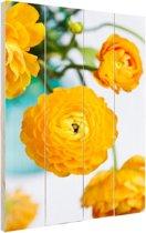 Oranje boterbloemen Hout 40x60 cm - Foto print op Hout (Wanddecoratie)
