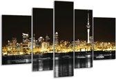 Glasschilderij Steden | Geel, Zwart, Wit | 170x100cm 5Luik | Foto print op Glas |  F003077