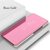 Clear View Mirror Stand Cover + PET Screenprotector voor Galaxy A40 _ Roze Goud