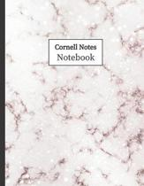 Cornell Notes Notebook: Cornell Ruled Paper - Note Taking System for School College University: 8.5'' x 11'' 108 Pages, Pretty Rose Marble