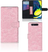 Samsung Galaxy A80 Wallet Case White Flowers