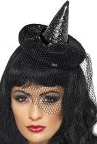 Mini heksen hoed op diadeem zwart