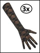 3x Paar handschoenen kant lang zwart