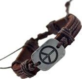 Fako Bijoux® - Armband - Leder - Peace - Bruin