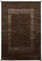 Vloerkleed hoogpolig 100% wol tapijten woonkamer bruin 170x240