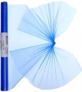 Blauwe organza stof op rol 40 x 200 cm