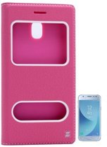 Teleplus Samsung J3 Pro Galaxy Dual Window Case Pink + Glass Screen Protector hoesje