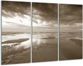 Glas schilderij Zee   Sepia   120x80cm 3Luik   Foto print op Glas    F006366