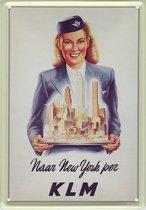 KLM reclame Naar New York reclamebord 10x15 cm