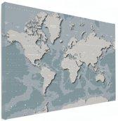 Wereldkaart - Blauw - Grijs - Canvas Klein 40x30 cm | Wereldkaart Canvas Schilderij